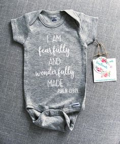I am fearfully and wonderfully made Onesie Christian Onesie Baby Onesie Baby Girl Onesie Baby Boy Onesie New Baby Gift Cute Baby Onesies, Boy Onesie, Baby Shirts, Cute Baby Clothes, Baby Bodysuit, Baby Time, Baby Boy Outfits, Toddler Outfits, Rainbow Baby