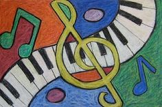 "An Abstract ""Musical Composition""!  Abstract art is a great way to teach composition and the Elements of Art... without the intimidation that can occur when striving for realism.  Take some musical symbols and create a random layout... and have fun with it!!"