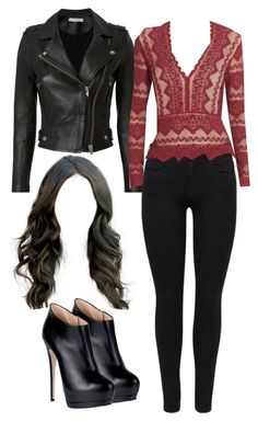 A fashion look from October 2017 featuring leather moto jackets, denim skinny jeans and high heel booties. Browse and shop related looks. Girls Fashion Clothes, Teen Fashion Outfits, Edgy Outfits, Cute Casual Outfits, Outfits For Teens, Dress Outfits, Summer Outfits, Dresses, Vampire Diaries Outfits