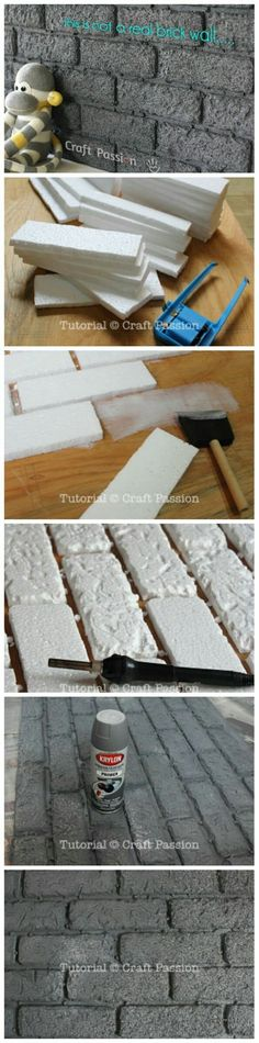 DIY Easy Faux Brick Wall Panel stressed styrofoam, on cellophane, with caulking. Faux Brick Wall Panels, Brick Wall Paneling, Faux Brick Walls, Paneling Ideas, Diy Casa, Diy Home Decor, Diy And Crafts, Easy Diy, Miniatures