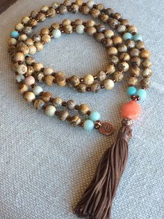 108 Bead Mala Necklace Prayer Bead Necklace by SilveryBeachDesigns