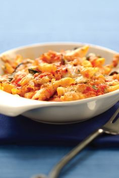 Baked pasta is the ultimate comfort food and crowd pleaser. Our version is meat-free and easy to make. Penne Pasta, Pasta Bake, Large Bowl, Tomato Sauce, Macaroni And Cheese, Dishes, Spring, Ethnic Recipes, Food