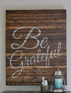 "Make an inexpensive ""Be Grateful"" pallet-style sign for the Thanksgiving season out of wood shims!"