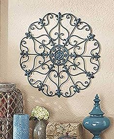 GetSet2Save Antique Treasure Turquoise Wall Metal Sculpture Medallion Turquoise Walls, Iron Wall, Decorative Plates, Sculpture, Antiques, Metal, Home Decor, Homemade Home Decor, Antiquities