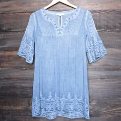 denim blue wash boho dress - shophearts - 1