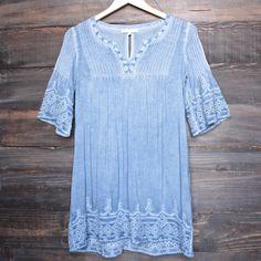 denim blue wash boho dress - shophearts - 1