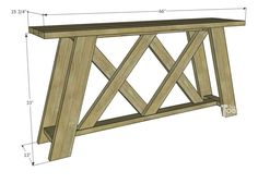 Double X Console Table Plans – Her Tool Belt - diy furniture plans Wood Pallet Furniture, Diy Furniture Plans, Diy Furniture Projects, Woodworking Furniture, Table Furniture, Woodworking Shop, Woodworking Plans, Woodworking Chisels, Small Wood Projects