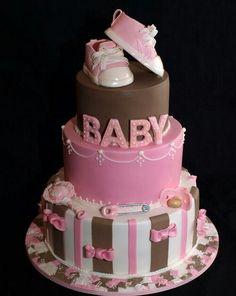 Beautiful baby shower cake for girl