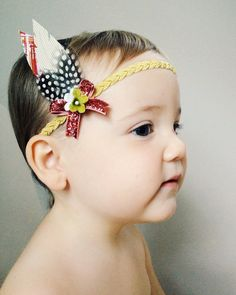 Tribal Fabric Feathers on Gold Braided Headband  by potluckstore, $15.95