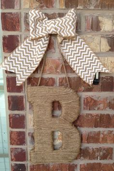 monogram jute letter and chevron burlap bow - by RockStarWreaths