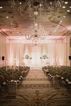 A Champagne-Themed Wedding in Texas, Ballroom Wedding Ceremony