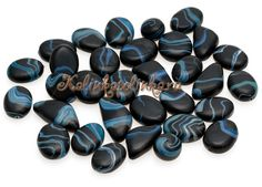 How-to tutorial - Making black and blue agate-style beads out of polymer clay polymerclayfimo: Урок- имитация агата и других камней.