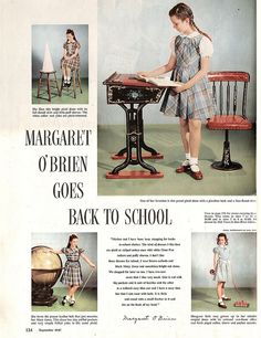 1940s child actress Margaret O'Brien sporting a series of lovely back to school looks.