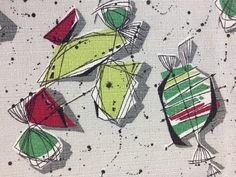 Excited to share the latest addition to my #etsy shop: 50's Candilicious Abstract Barkcloth//Eames Style Print//Lime Red, Green and Black Splashes on Silver Ground http://etsy.me/2BJ1Dh6 #supplies #silver #no #yes #abstract #homedecor #red #barkcloth #cotton