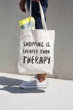 Shopping est moins cher que la thérapie - drôle de cabas - sac Shopping - typographie sac - cartable - sac en toile imprimé cabas - sac Shopping-