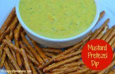 The BEST Mustard Pretzel Dip - only 4 Ingredients too, don't forget Pretzel Perfection Pretzels! Pretzel Dip Recipes, Recipes Appetizers And Snacks, Appetizer Dips, Snack Recipes, Pretzel Treats, Pretzel Salad, Mustard Pretzels, Good Food, Yummy Food