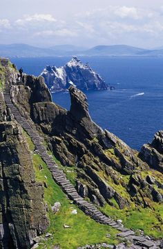 Stone Stairway, Skellig Michael, Skellig Islands, County Kerry, Ireland.