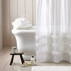 Shower Curtains: Long or Short? White white and pretty white shower curtain. Tall Shower Curtains, Extra Long Shower Curtain, Cool Curtains, Linen Curtains, Dark Brown Bathroom, Cortina Box, Cortinas Shabby Chic, Wall Cupboards, White Shower