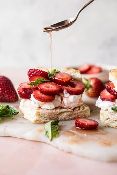 Strawberry Shortcakes, a classic dessert dating all the way back to 1588. Well I've updated the classic with bourbon infused strawberries, whipped mascarpone, and homemade buttery biscuits, to create the most perfect spring/summer dessert.