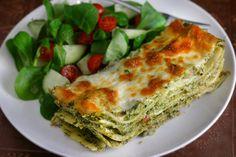 Green Lasagna w/ spinach and mushrooms