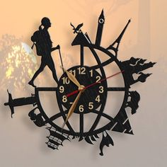 Clock Backpacker Girl or Guy Wood Non-ticking Backpacking Traveler LARGE Around world Wall Clock Design, Clock Wall, Clock Decor, Wood Clocks, Metal Clock, Antique Clocks, Craft Online, Gifts For Office, Quartz Clock Mechanism