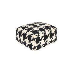 Black Innoko Houndstooth Pouf ($239) ❤ liked on Polyvore featuring home, furniture, ottomans, black footstool, contemporary ottoman, modern classic furniture, patterned ottoman and black and white furniture