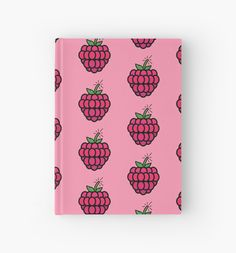 Raspberry Bomb(e) icon on a hardcover notebook. Also available as a tshirt, a-line dress,    laptop sleeve and more! #raspberry #pink #fruit #vector #redbubble
