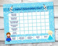 Frozen chore chart, Frozen Reward Chart, Responsibility Chart, Weekly Chore Chart, Behavior Chart, Allowance chart, DIY Editable PDF by sugarpickledesigns. Explore more products on http://sugarpickledesigns.etsy.com
