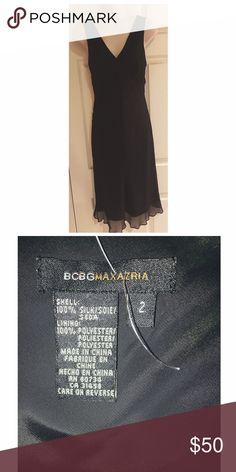 BCBG MaxAzria Silk Cocktail Dress 100% silk. Like new. Size 2. Fits to body. LOVE inner lining in this. BCBGMaxAzria Dresses Midi