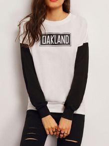 White Black Crew Neck Letters Print Sweatshirt