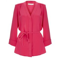 Goat Brittany Hot Pink Belted Silk-Crepe Shirt ($175) ❤ liked on Polyvore featuring tops, blouses, pink, pink shirts, pink top, three quarter sleeve shirts, tie front blouse and 3/4 sleeve shirts