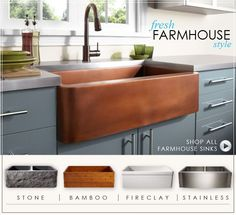 Farmhouse Sink- This eight has a great selection and the prices are listed.