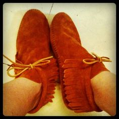 Do you remember wearing these? With no soles they weren't very comfortable. I loved wearing my moccasins.
