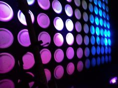 round paper plates design lit with LED lights...