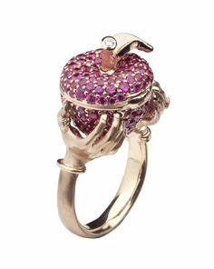 Stephen Webster 18-carat Rose Gold Murder She Wrote Poison Apple Ring with Rubies.