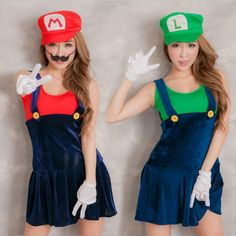 Video Game Cosplay Super Mario Bros Cosplay Costume Mario Sisters Sexy Girls Mini Dress Halloween Costumes for Women - Steampunk Corsets Costume Halloween, Movie Character Halloween Costumes, Costume Luigi, Mario And Luigi Costume, Girl Costumes, Adult Costumes, Costumes For Women, Costume Ideas, Super Mario