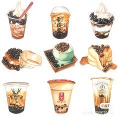 Food Art Painting, Desserts Drawing, Bubble Tea Shop, Dessert Illustration, Chibi Food, Cute Food Art, Food Sketch, Watercolor Food, Cafe Art