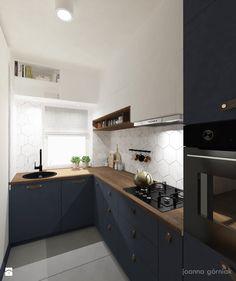 Salon/kuchnia - Mała otwarta zamknięta wąska kuchnia w kształcie litery l, styl industrialny - zdjęcie od Joanna Górniak