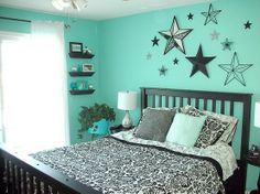 teal bedroom -love the shelves for smaller display items