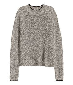 Black/white melange. Rib-knit sweater in a soft cotton blend with a ribbed mock turtleneck and long sleeves.
