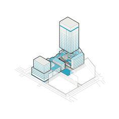 CIVIC architects - Woningblok Kavel N Sloterdijk - Amsterdam - Iso diagram Architecture Concept Drawings, Architecture Visualization, Architecture Graphics, Architecture Diagrams, Data Visualization, Healthcare Architecture, Pavilion Architecture, Architecture Portfolio, Map Diagram
