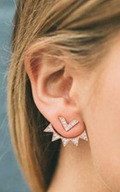Cute Ear Piercing Ideas for Teenagers - Geometric Crystal Triangle Ear Jacket Earring Ear Lobe - pendientes de la oreja del triángulo - www.MyBodiArt.com