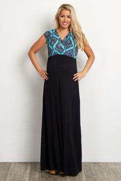 cb357ffa26c Jade Paisley V-Neck Top Solid Bottom Maternity Nursing Maxi Dress