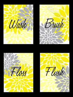 Yellow and Gray Flowers Starburst 8 x 10 Prints for Bathroom Wash Brush Floss Flush