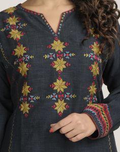 Fabindia.com   Cotton Kalidar Soof Embroidered Long Kurta