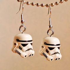 Star Wars LEGO Storm Trooper silver earrings in by crimsonking, $25.00