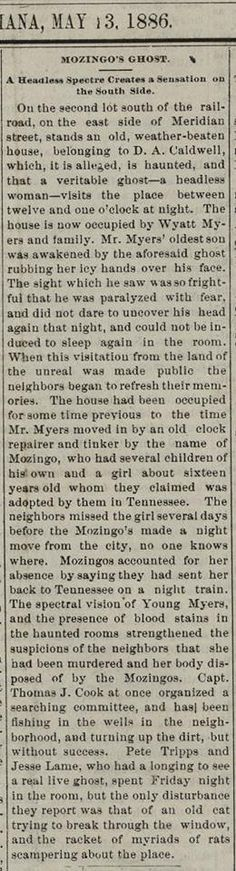 Lebanon Pioneer May 1886 - The ghost of a headless woman haunts Lebanon House, currently occupied by offices of the City of Lebanon. This, based upon current maps and the story details the home's location.
