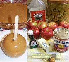 Caramel Apples ~ Once you try this, you will never go back to unwrapping and melting all those commercial caramels to dunk apples in!