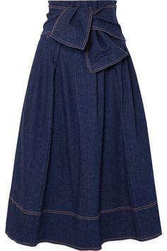 Denim midi skirt with belt Midi Skirt Outfit, Skirt Outfits, Dress Skirt, Jeans Dress, Modest Fashion, Fashion Dresses, Cute Skirts, Mini Skirts, Ulla Johnson