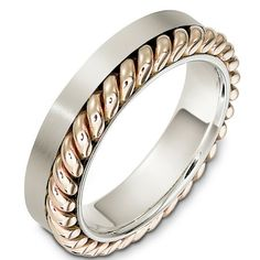 14 Kt Two-Tone Gold Wedding Band | www.weddingbands.com | @Wedding Bands